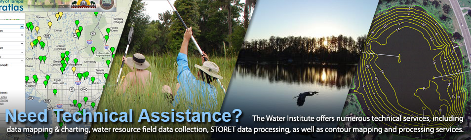 The USF Water Institute offers numerous technical services, including data mapping & charting, water resource field data collection, STORET data processing, sa well as contour mapping and processing services.