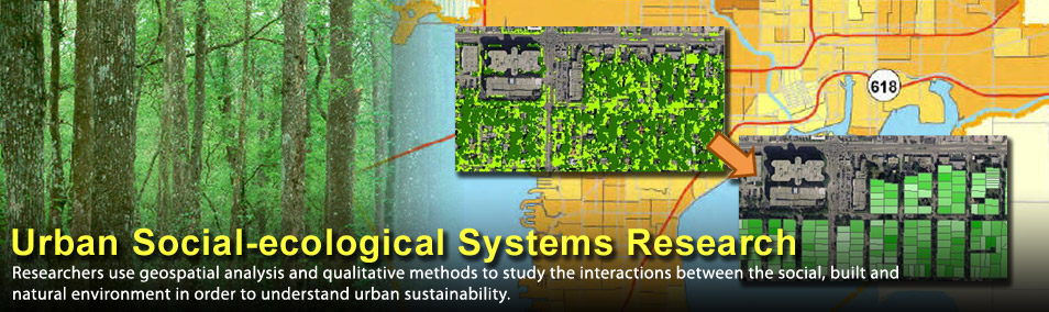 Researchers use geospatial analysis and qualitative methods to study the interactions between the social, built, and natural environment to understand urban sustainability.